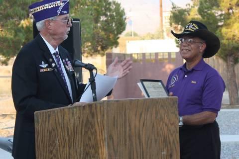 Robin Hebrock/Pahrump Valley Times Military Order of the Purple Heart Commander Dan Peterson, l ...