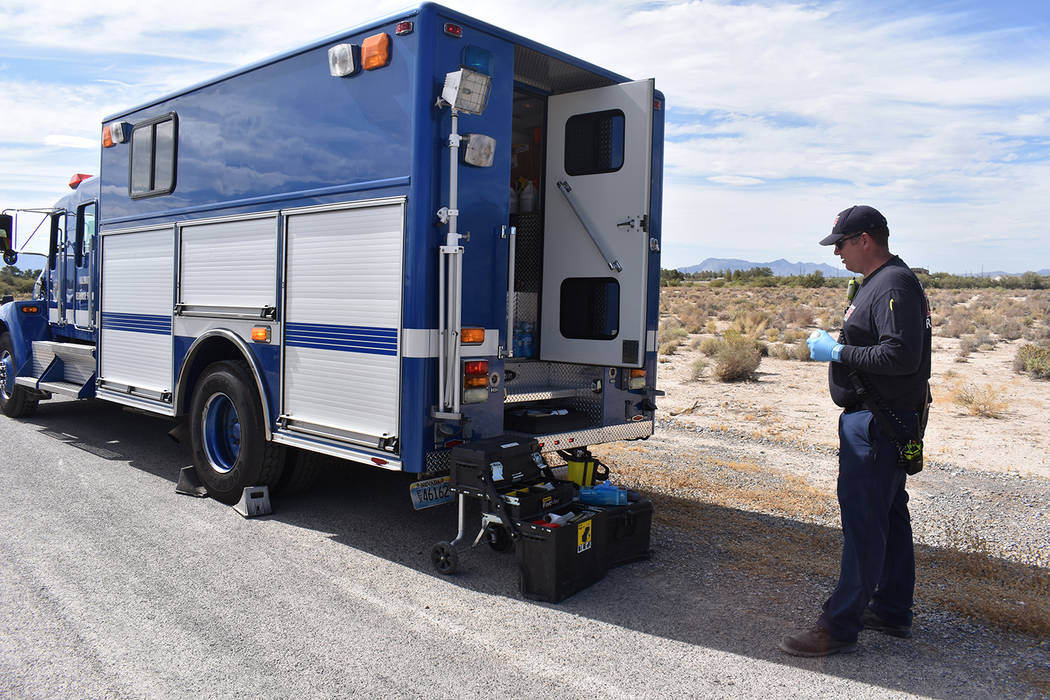 Special to the Pahrump Valley Times A crime scene evolved into a HazMat response on Tuesday aft ...