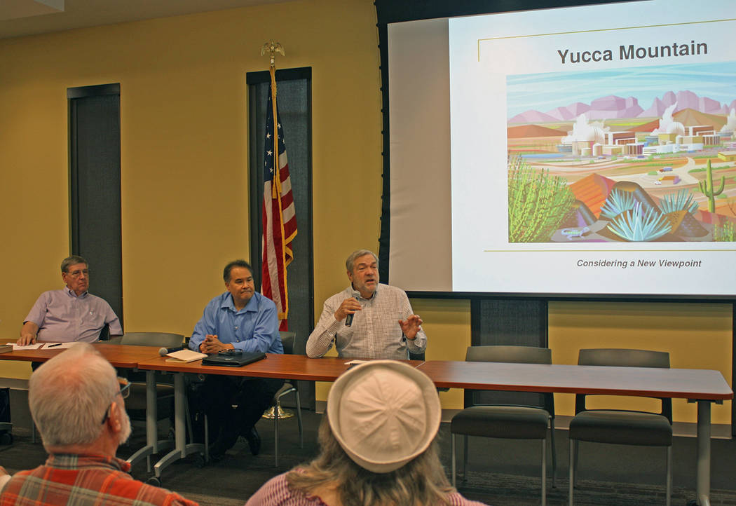 Robin Hebrock/Pahrump Valley Times The Yucca Mountain forum included several nuclear experts. S ...