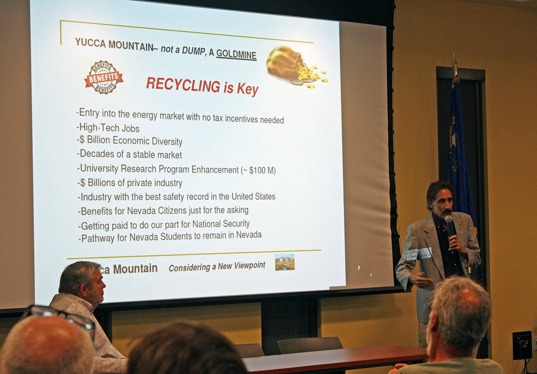 Robin Hebrock/Pahrump Valley Times Marty Waldman details a page of his presentation on the new ...