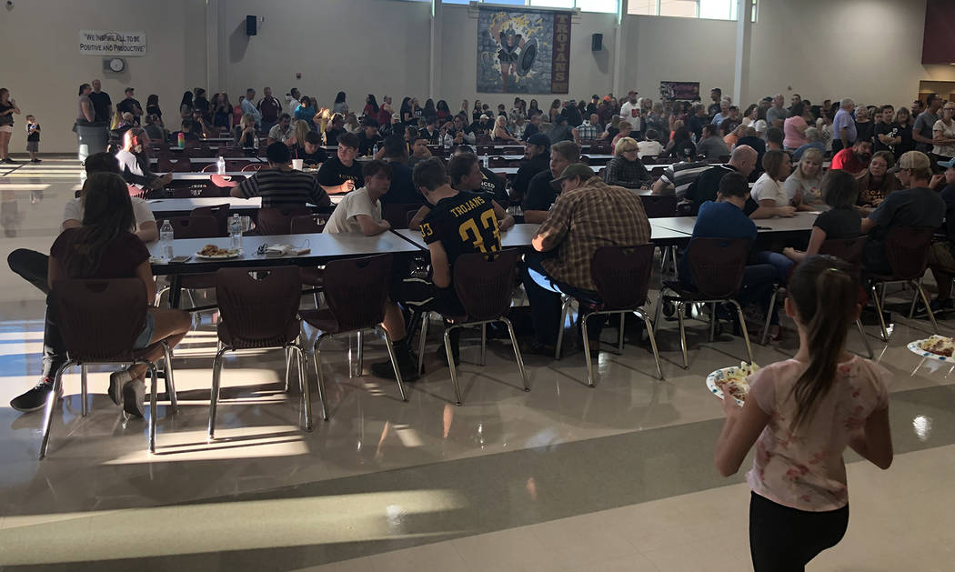 Tom Rysinski/Pahrump Valley Times The crowd of roughly 400 people lines up to get spaghetti dis ...