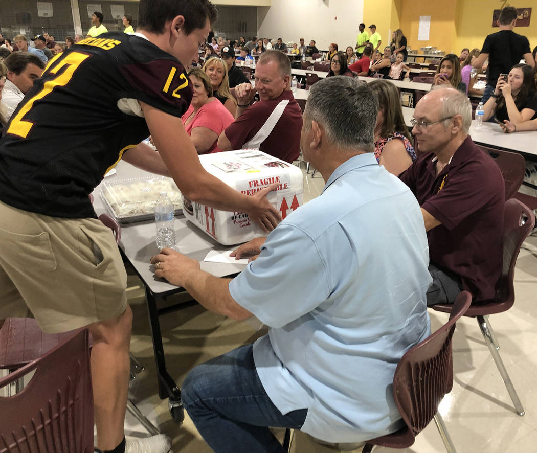 Tom Rysinski/Pahrump Valley Times Pahrump Valley High School football player Rance Bill deliver ...