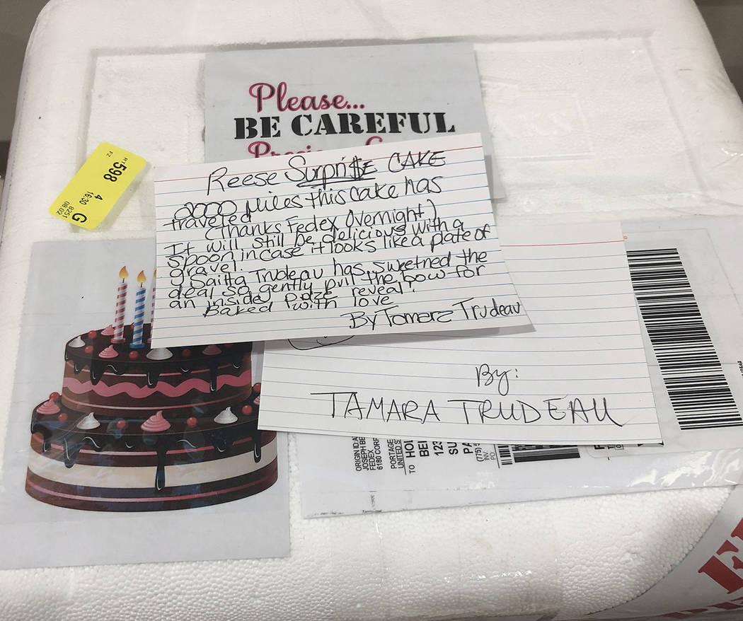 "Tom Rysinski/Pahrump Valley Times Still in its shipping container, Tamara Trudeau's ""Reese's Su ..."