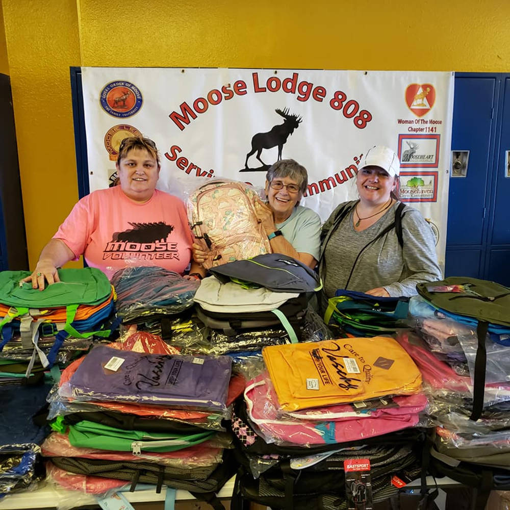 Special to the Pahrump Valley Times Moose Lodge members are pictured posing with the hundreds o ...