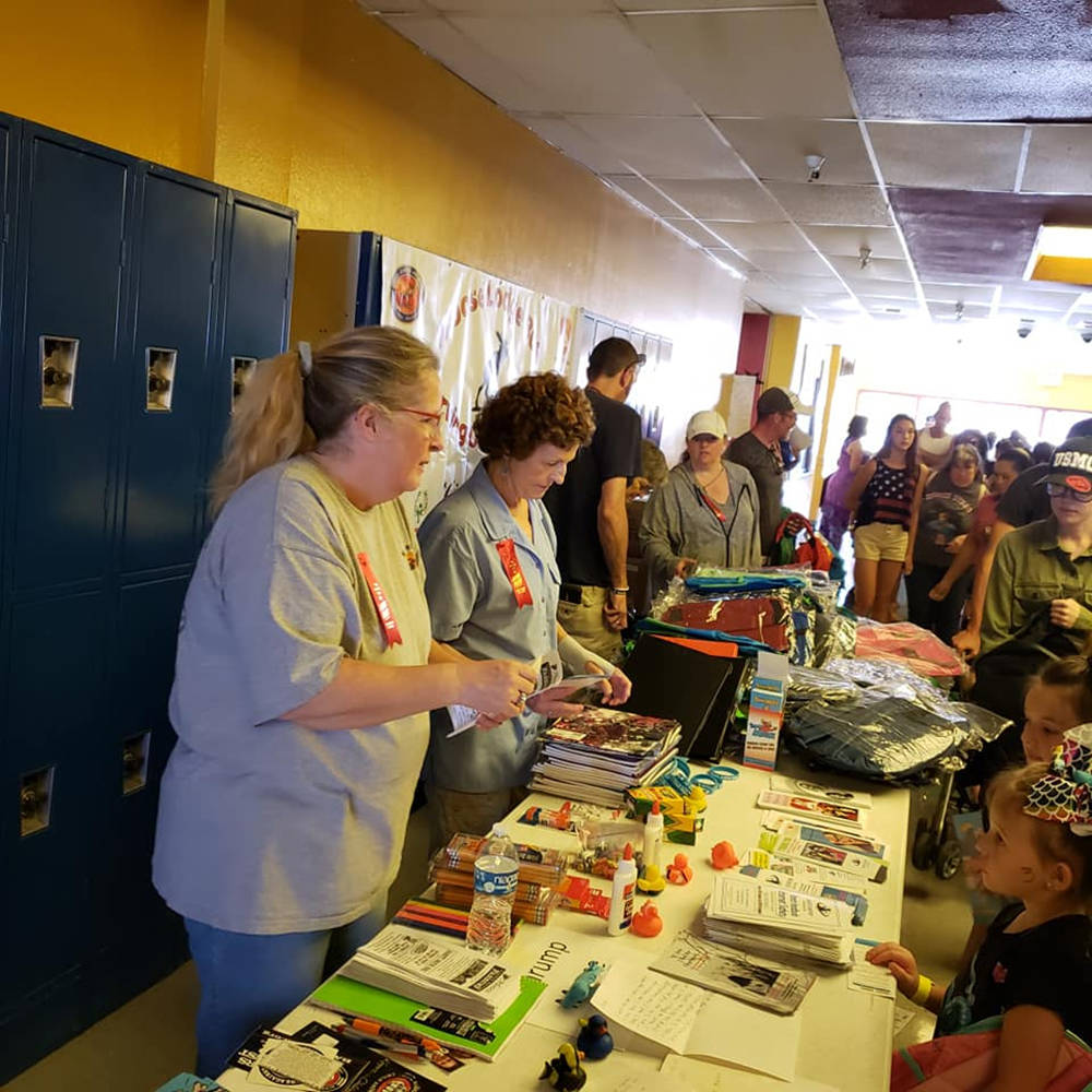 Special to the Pahrump Valley Times As students geared up for back to school, Moose Lodge membe ...