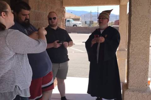 Jeffrey Meehan/Pahrump Valley Times George Chase (right) of Hypno Comics and Games in Pahrump s ...