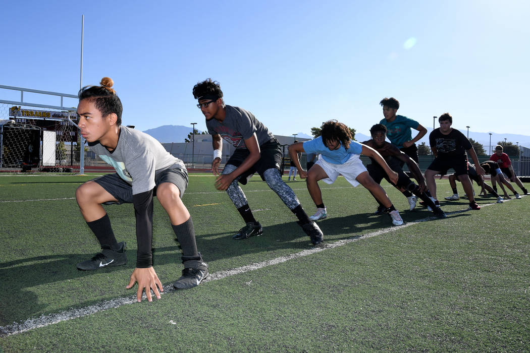 Peter Davis/Special to the Pahrump Valley Times Pahrump Valley High School football players dur ...