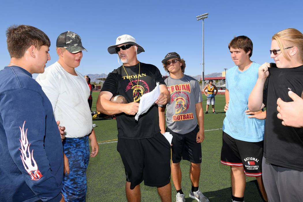 Peter Davis/Special to the Pahrump Valley Times Pahrump Valley High School football coach Joe C ...