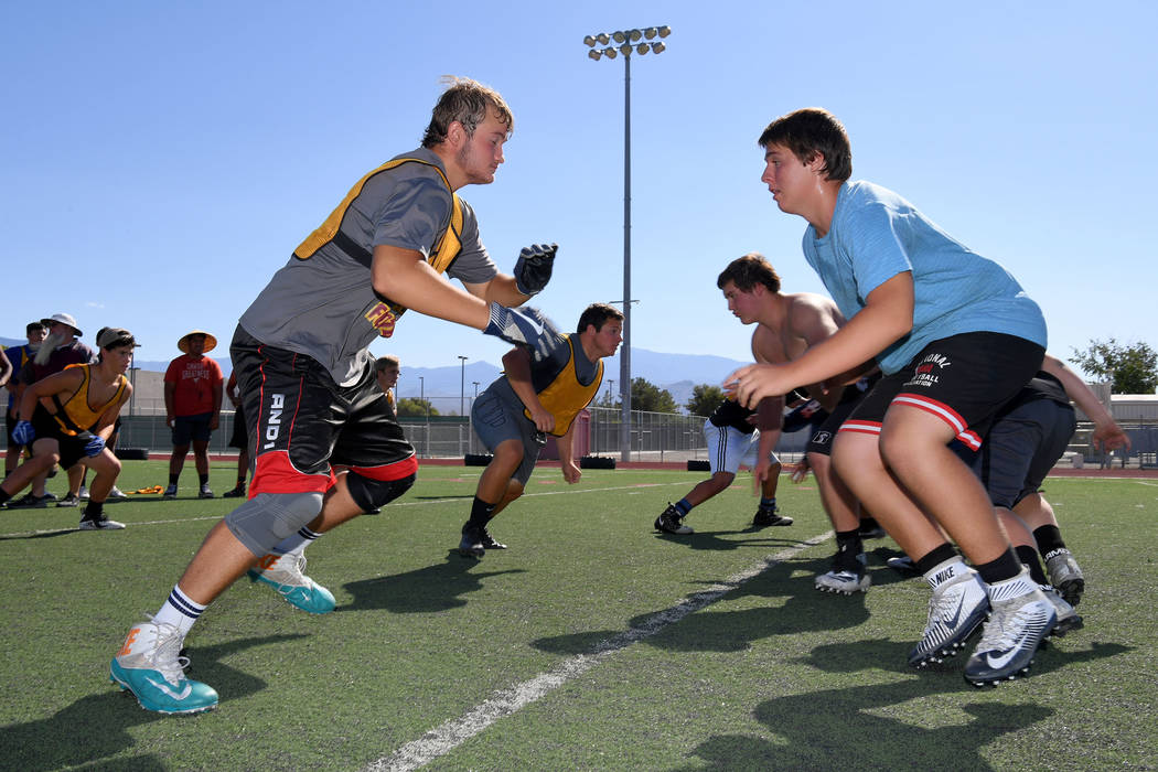 Peter Davis/Special to the Pahrump Valley Times Linemen square off during Pahrump Valley High S ...