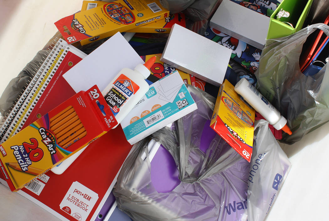 Robin Hebrock/Pahrump Valley Times Pencils and index cards, glue, folders and notebooks, a huge ...