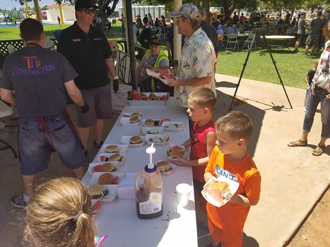 David Jacobs/Pahrump Valley Times The Pioneer Celebration included a free lunch with barbecue, ...