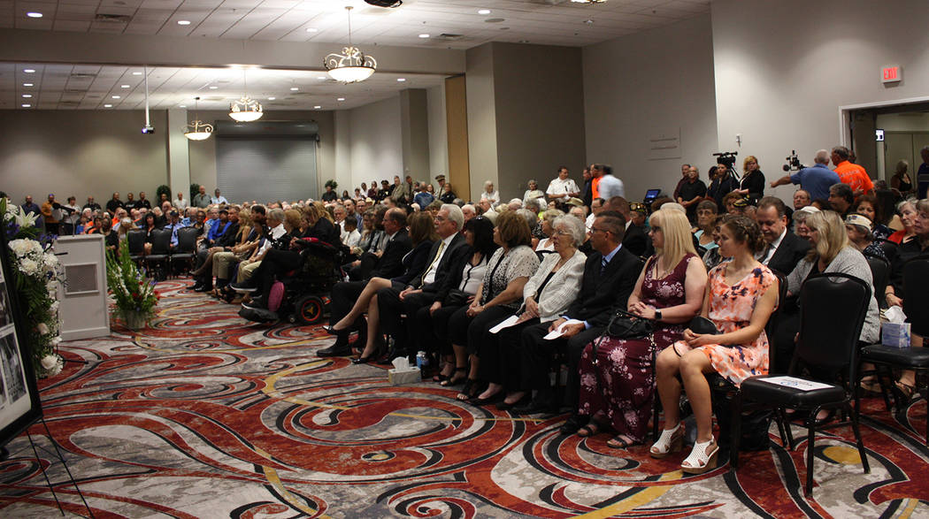 Robin Hebrock/Pahrump Valley Times The family of Tony DeMeo filled the first row of seats at hi ...