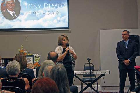 Robin Hebrock/Pahrump Valley Times Linda DeMeo, widow of the late Tony DeMeo, is pictured addre ...