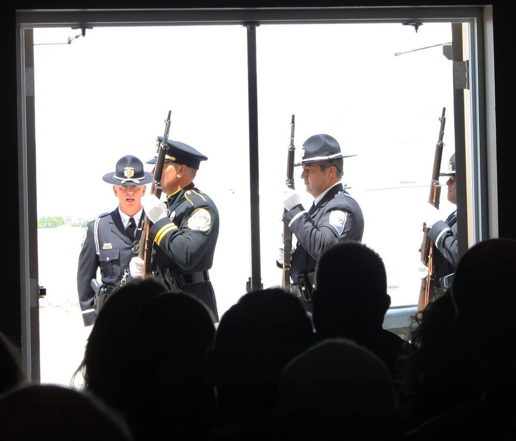 Robin Hebrock/Pahrump Valley Times A 21-gun salute was included in the ceremonies that took pla ...