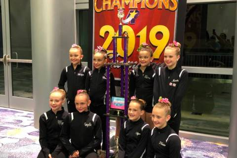 Special to the Pahrump Valley Times Nevada Dance Centre dancers pose with the trophy for winnin ...
