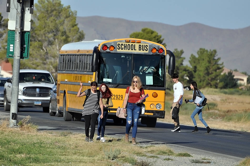 Horace Langford Jr./Pahrump Valley Times The first day of classes for the Nye County School Di ...