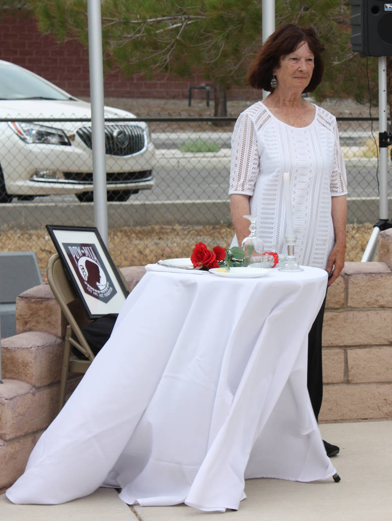 Robin Hebrock/Pahrump Valley Times DAV Auxiliary member Beverly Baker took part in the somber P ...