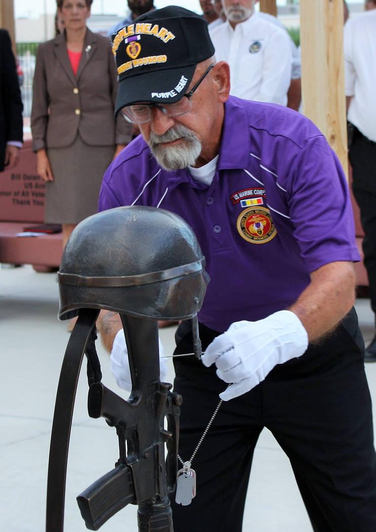Robin Hebrock/Pahrump Valley Times Marine Corps League Detachment #1199 member Jerry Dumont is ...