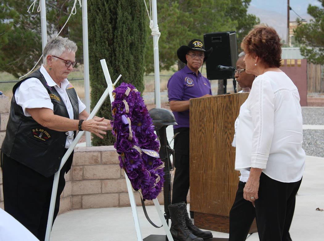 Robin Hebrock/Pahrump Valley Times DAV Auxiliary members Martha Wilson-Dumont, Susan Cardarelli ...