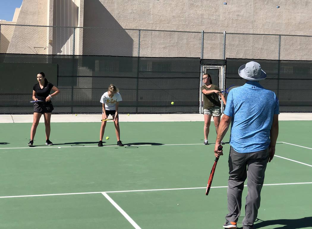 Tom Rysinski/Pahrump Valley Times New Pahrump Valley High School tennis coach Dan Clift runs a ...