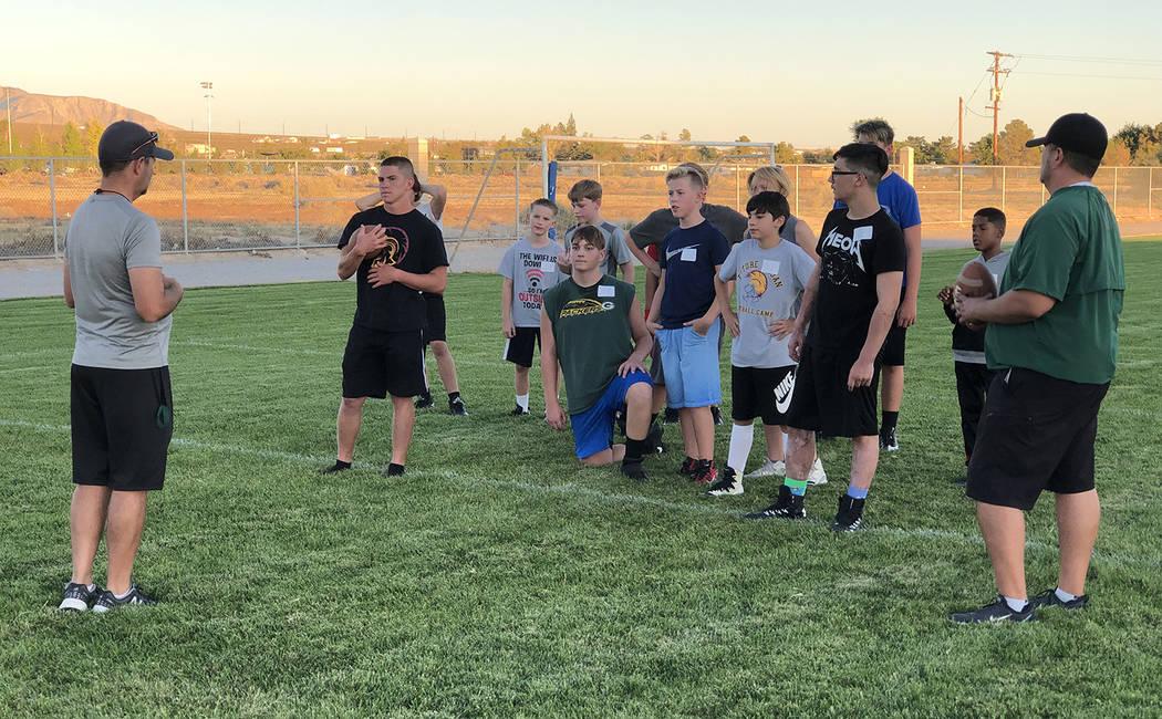 Tom Rysinski/Pahrump Valley Times Rosemary Clarke Middle School football coach Dan Nagle instru ...