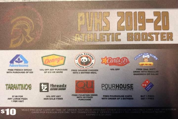 Tom Rysinski/Pahrump Valley Times The Pahrump Valley High School Booster Club is selling discou ...