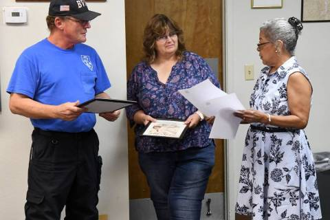 Richard Stephens/Special to the Pahrump Valley Times Volunteer Fire Department Chief Mike Harmo ...