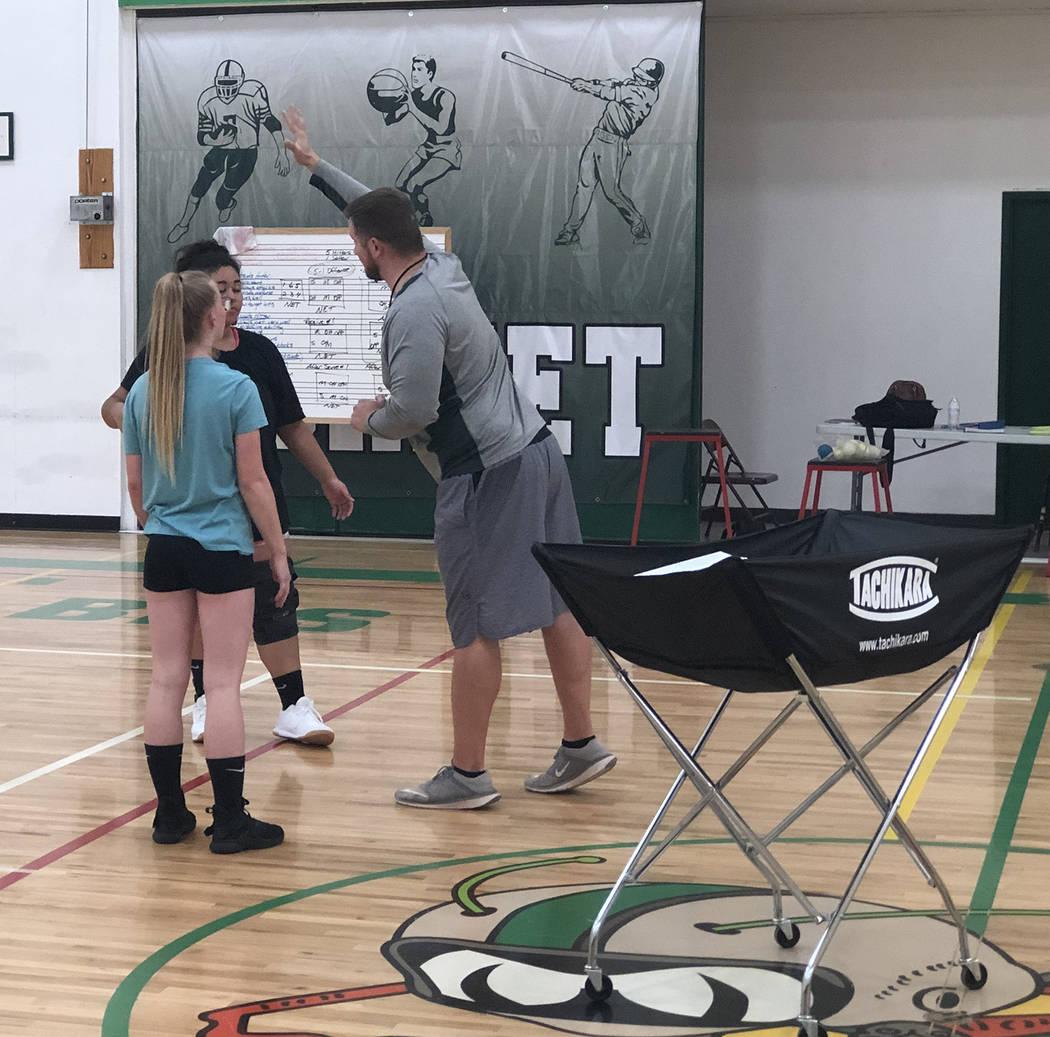 Tom Rysinski/Pahrump Valley Times Beatty High School volleyball coach Steven Sullivan discusses ...