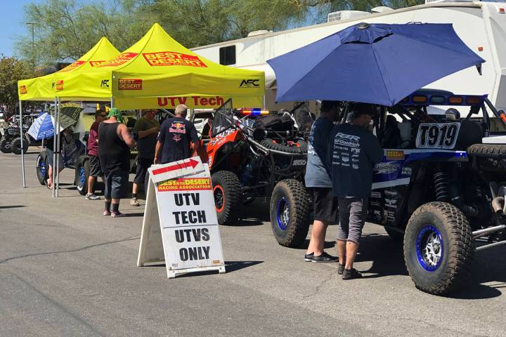 Tom Rysinski/Pahrump Valley Times Vegas to Reno competitors line up Thursday for technical insp ...