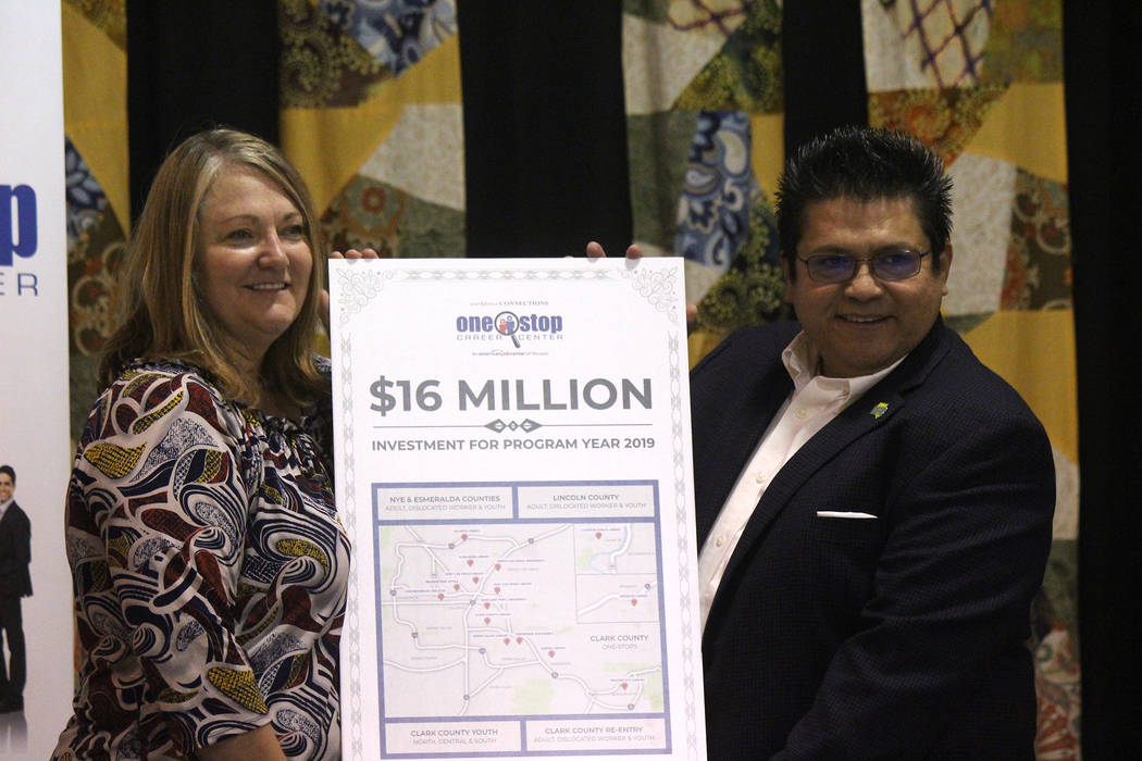 Jeffrey Meehan/Pahrump Valley Times Stacy Smith, CEO of the NyE Communities Coalition (left) st ...