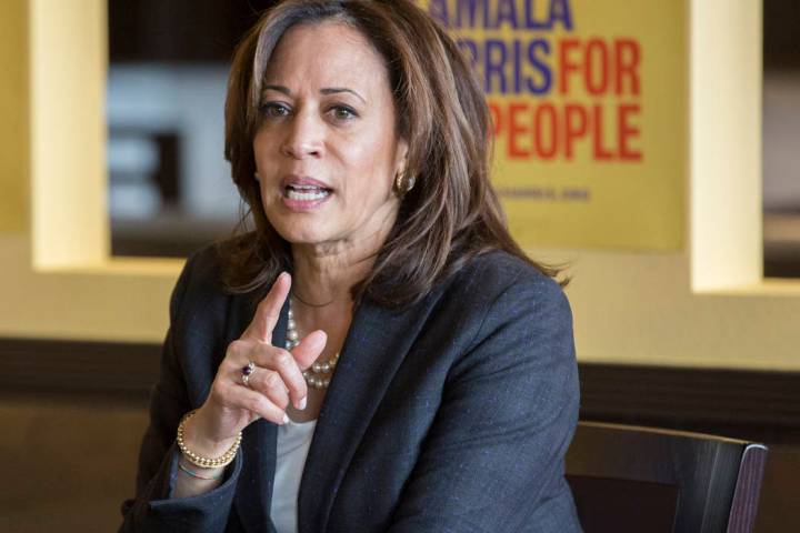 Benjamin Hager/Las Vegas Review-Journal Presidential candidate Sen. Kamala Harris, D-Calif., ad ...