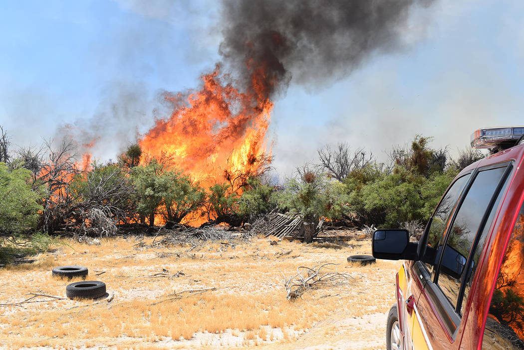 Special to the Pahrump Valley Times Pahrump fire crews were dispatched to the area of Kellogg R ...