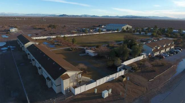 Aerial photo of Northwest Academy, a private boarding school in Amargosa Valley on Feb. 15, 201 ...