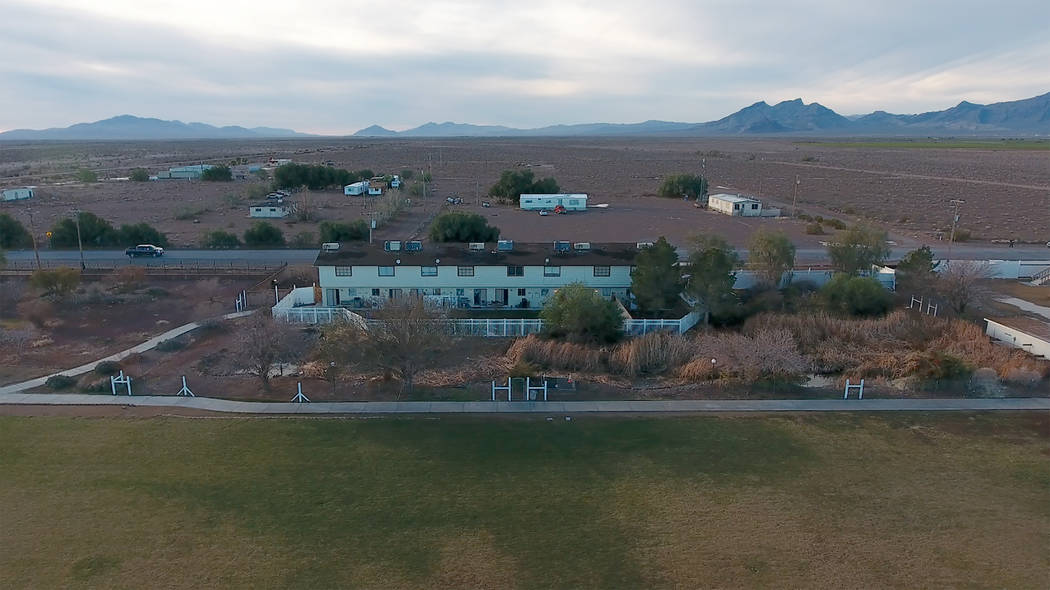Aerial photo of staff housing at Northwest Academy, a private boarding school in Amargosa Valle ...