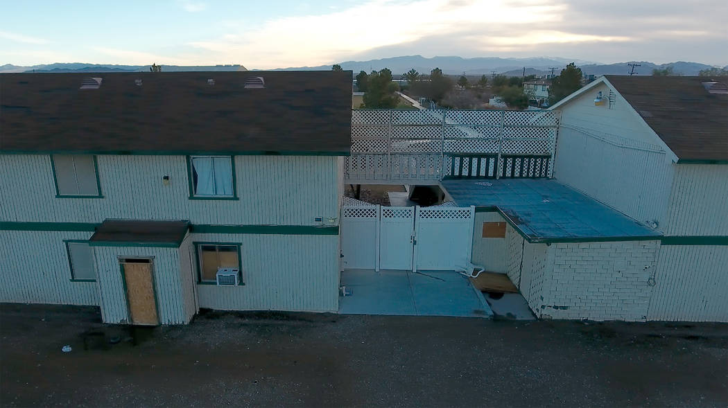 Aerial photo of student housing at Northwest Academy, a private boarding school in Amargosa Val ...