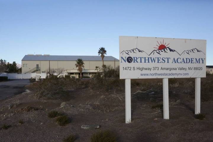 The entrance to Northwest Academy, a now-closed boarding school in Amargosa Valley. (Michael Qu ...