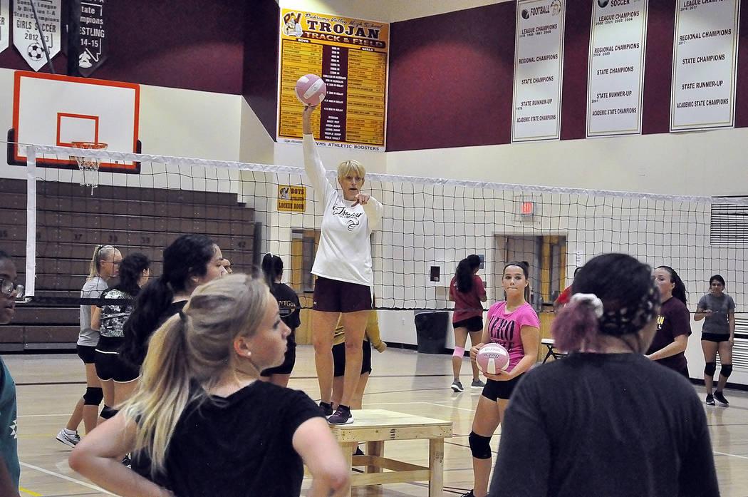 Horace Langford Jr./Pahrump Valley Times Pahrump Valley High School volleyball coach Jill Harri ...