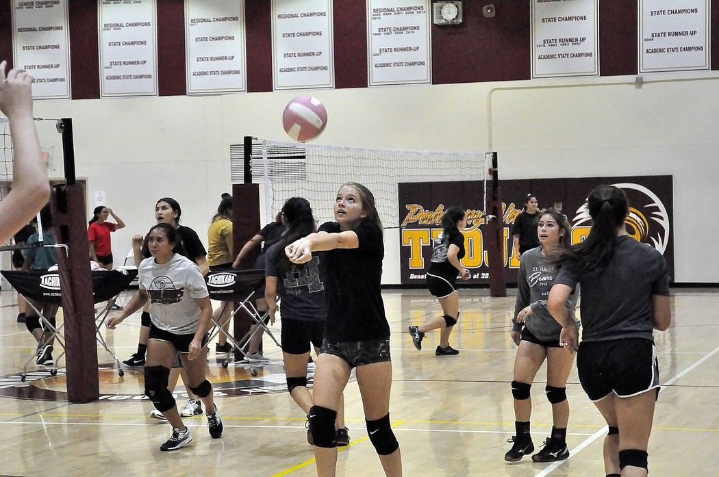 Horace Langford Jr./Pahrump Valley Times Volleyball players practice for the start of the new s ...