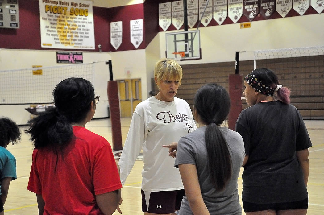 Horace Langford Jr./Pahrump Valley Times Pahrump Valley volleyball players listen to coach Jill ...