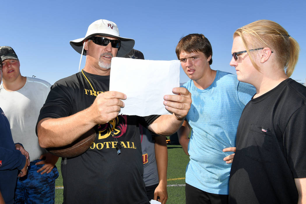 Peter Davis/Special to the Pahrump Valley Times Pahrump Valley football coach Joe Clayton with ...