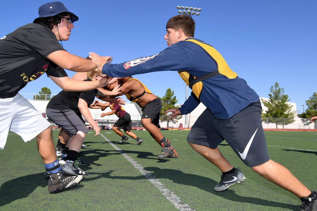 Peter Davis/Special to the Pahrump Valley Times Linemen prepare for the 2019 football season du ...