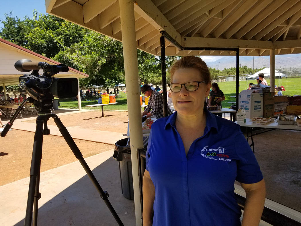 David Jacobs/Pahrump Valley Times KPVM TV's Deanna O'Donnell working at an assignment as shown ...
