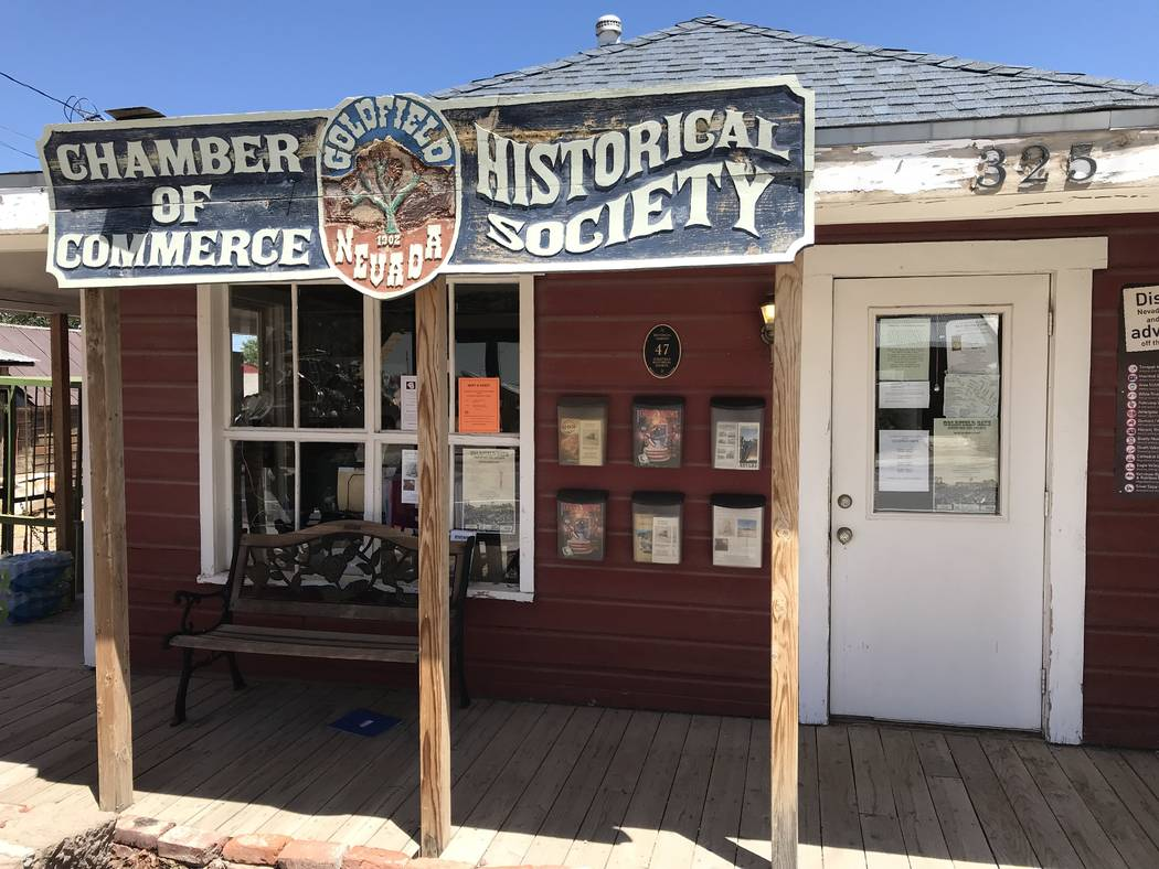 Jeffrey Meehan/Times-Bonnaza Peggy Carrasco, president of the Goldfield Chamber of Commerce, s ...