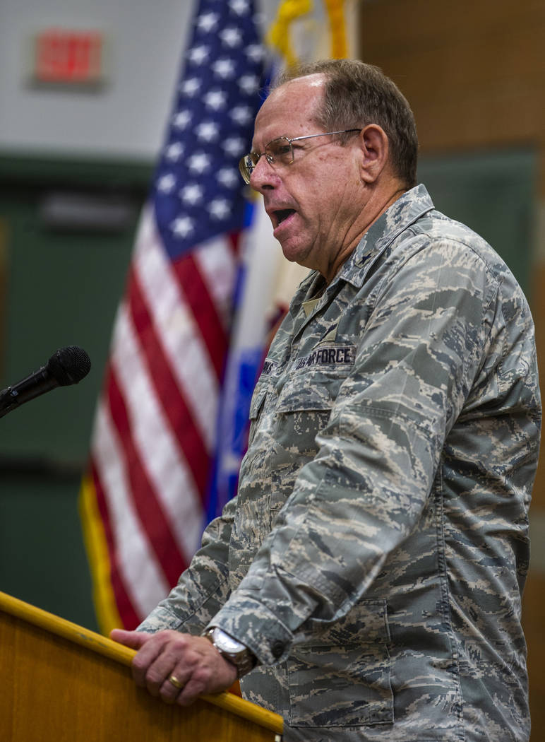 Brigadier General Bill Burks addresses soldiers with the Nevada Army Guard 3665th Explosive Ord ...