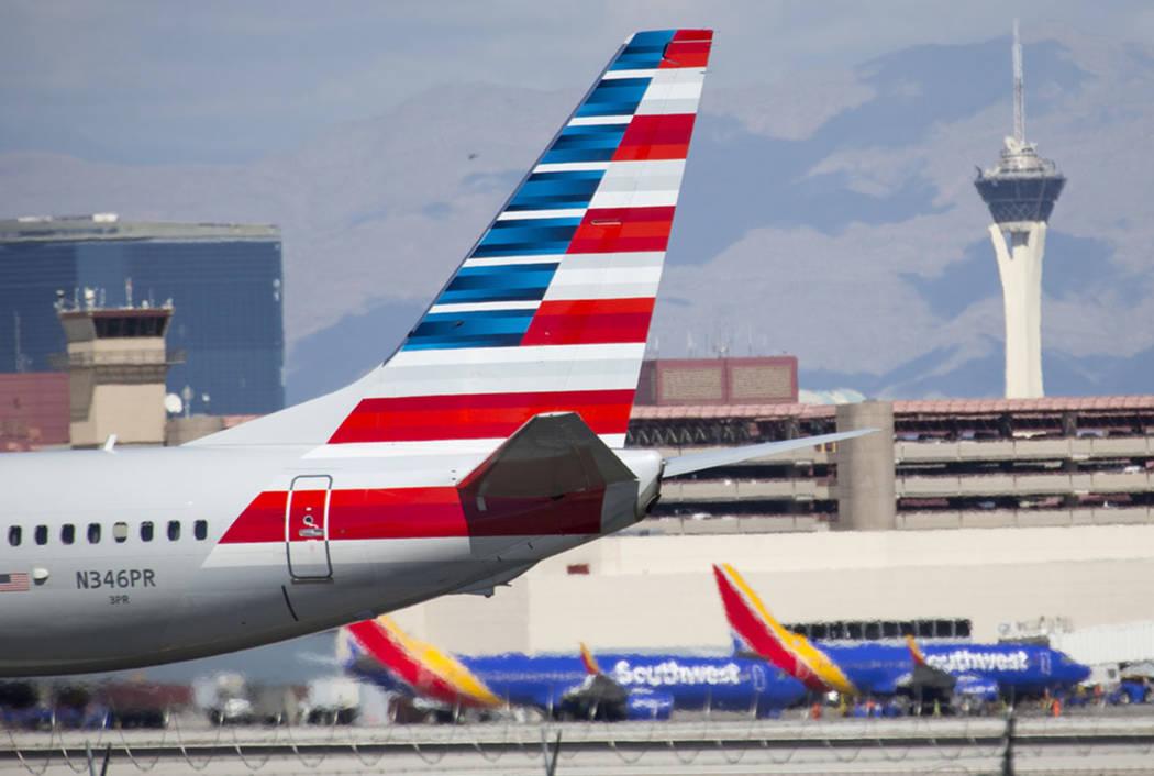 Las Vegas Review-Journal An American Airlines plane at McCarran International Airport in Las Ve ...