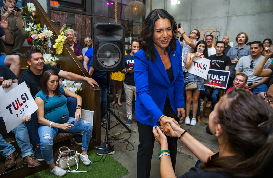 L.E. Baskow/Las Vegas Review-Journal Democratic presidential candidate Tulsi Gabbard, D-Hawaii, ...