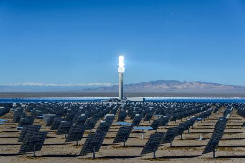 Special to the Pahrump Valley Times The Crescent Dunes solar plant in the Tonopah region as sh ...