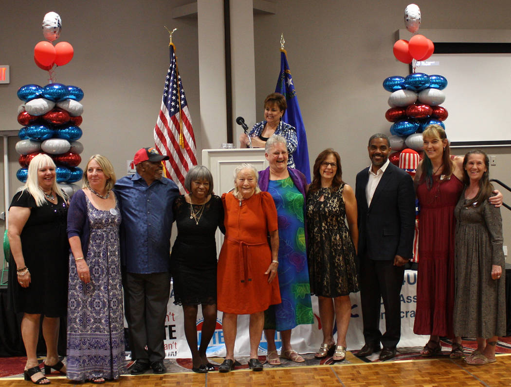Robin Hebrock/Pahrump Valley Times From left to right are Nye County Democratic Central Committ ...