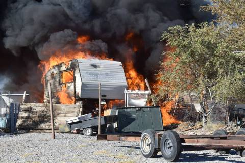 Special to the Pahrump Valley Times At least three RVs were destroyed after a fire broke out at ...