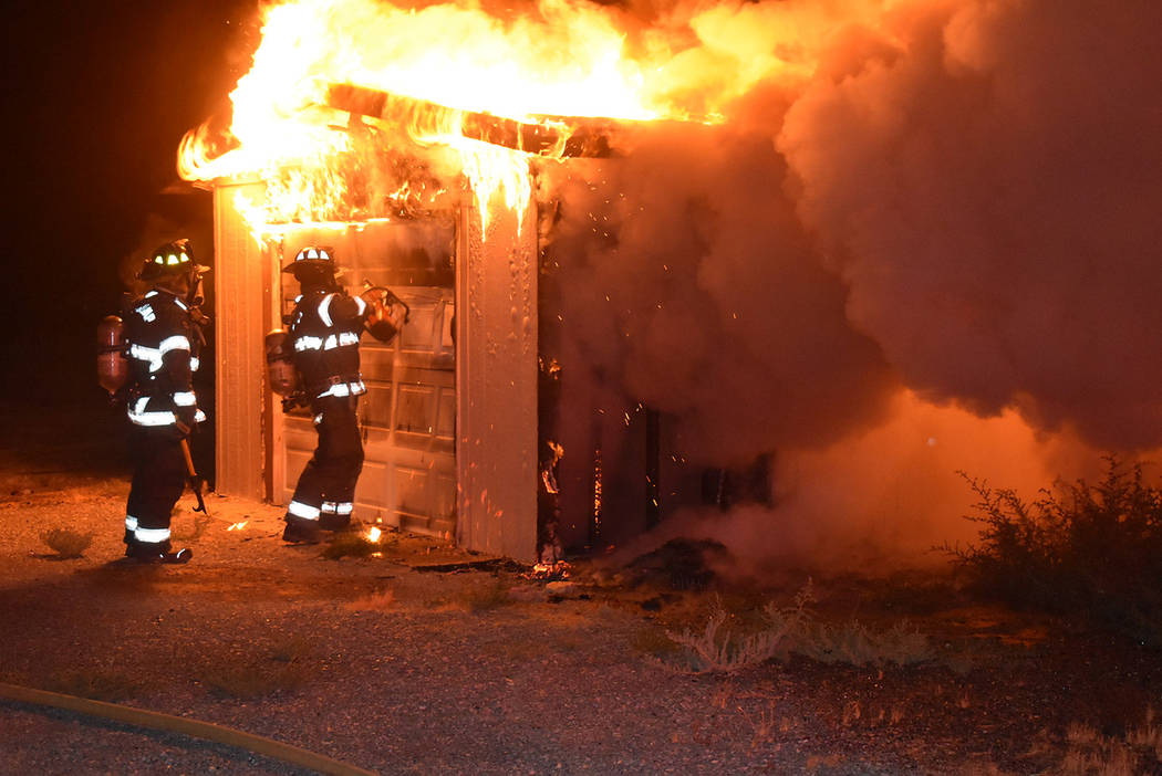 Special to the Pahrump Valley Times Pahrump fire crews were dispatched for a report of a struct ...